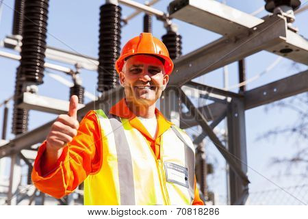 middle aged male electric engineer in electrical power plant