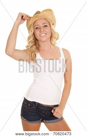 Cowgirl White Tank Smile Touch Hat