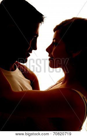 Silhouette Of Couple Heads Close Facing Each Other