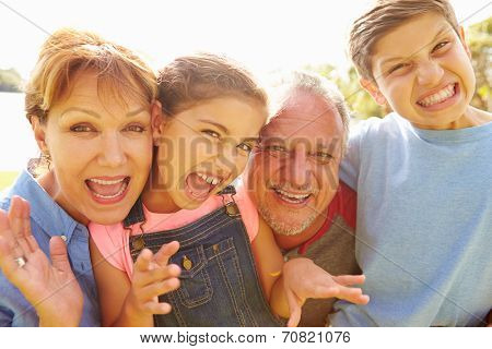 Portrait Of Grandparents And Grandchildren In Garden