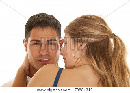 Womans Back Close By Man Looking