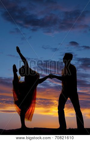 Silhouette Couple Dancing Her Lean Head Back To Foot