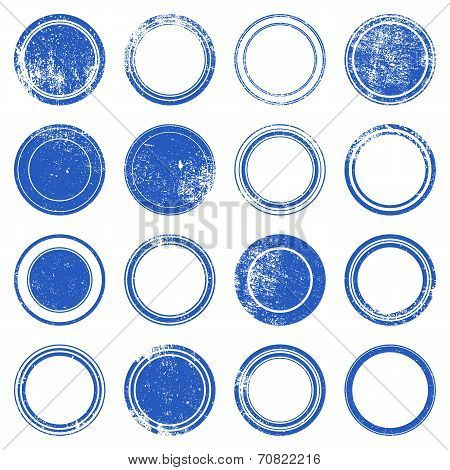 Blue Ronded Grunge Stamp