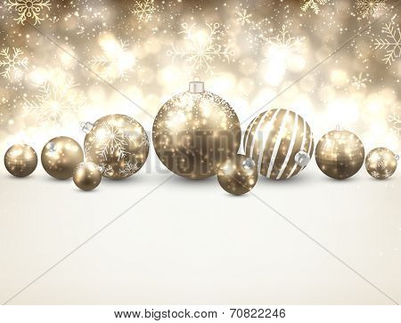 Winter background. Fallen bright snowflakes. Christmas golden balls. Vector illustration.