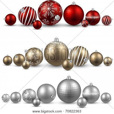 Set of colorful christmas balls. Vector illustration.