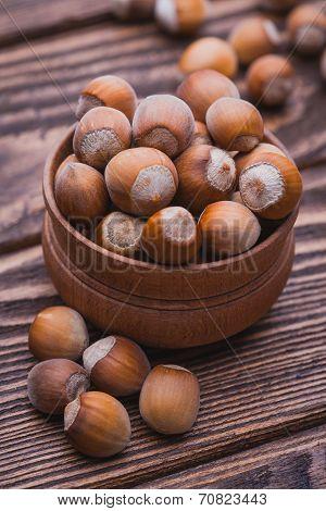 hazelnut on a wooden table
