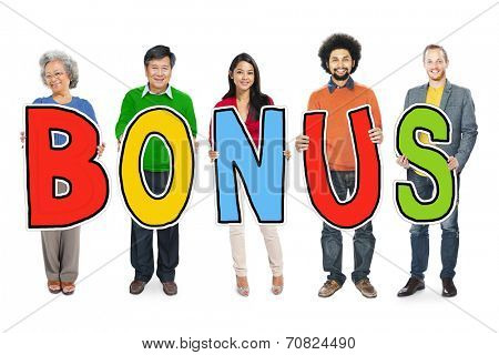 Group of Diverse People Holding Word Bonus