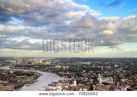 London Cityscape  with Canary Wharf