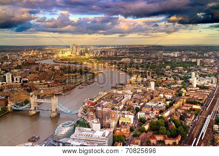 London Tower bridge and Canery Wharf Skyline