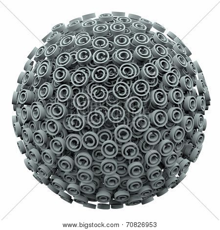 Copyright symbols in a 3d ball or sphere symbolizing protection from infringement or violation of your intellectual property rights