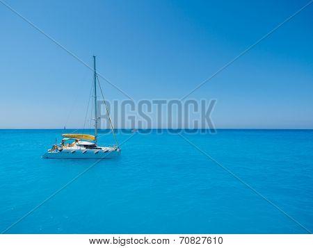 Sailing yacht in Porto Katsiki Lefkada Greece