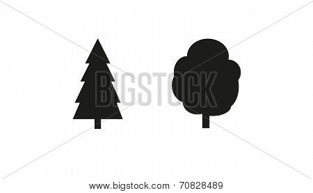 Simple Vector Drawing Of Deciduous And Coniferous Tree