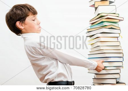 Portrait of a boy with books