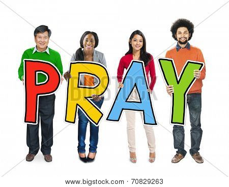 Multiethnic Group of People Holding Letter Pray