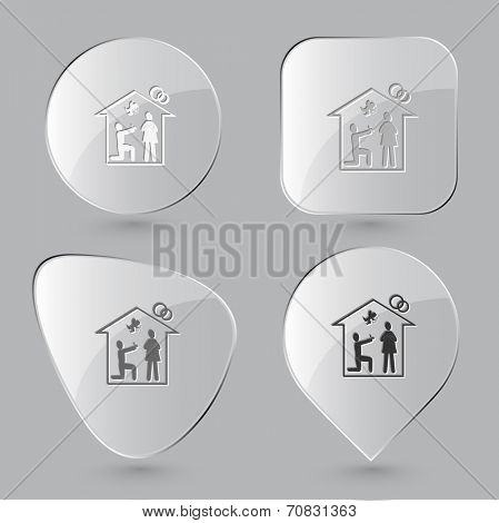 Home affiance. Glass buttons. Raster illustration.