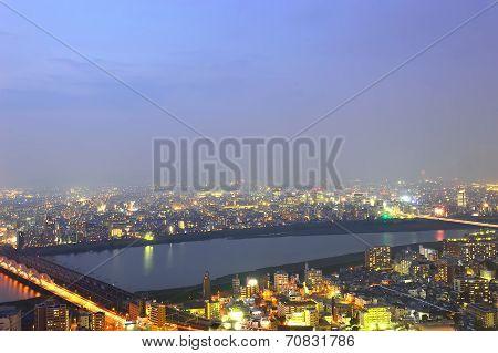 Panoramic View Of Osaka City At Night, Japan