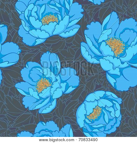 Azure flowers seamless background