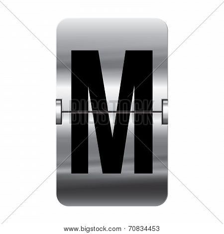 Silver Flipboard Letter - Departure Board - M