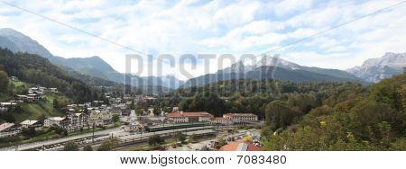 Panoramic View Of Berchtesgaden And Watzman Mountain