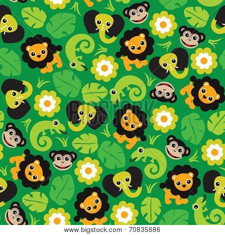 Seamless jungle paradise animals lion elephant monkey and lizard illustration background pattern in vector