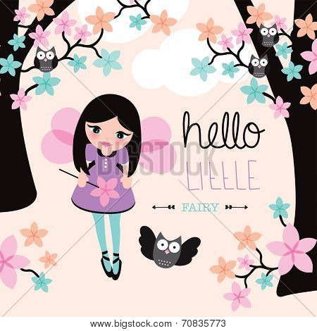 Hello little fairy forest owls and kids fantasy world illustration background baby announcement in vector