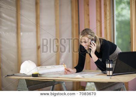 Woman Working At Construction Site