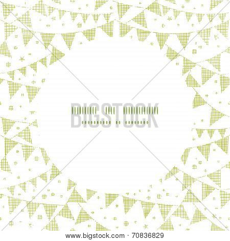 Green Textile Party Bunting Frame Circle Pattern Background