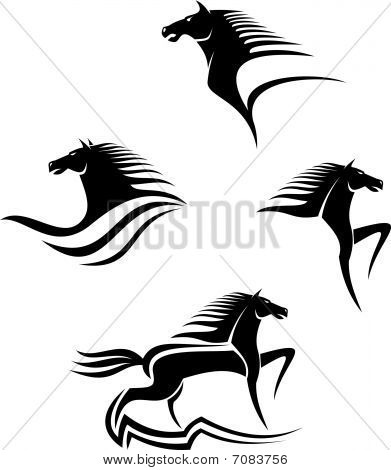 Set of black horses symbols