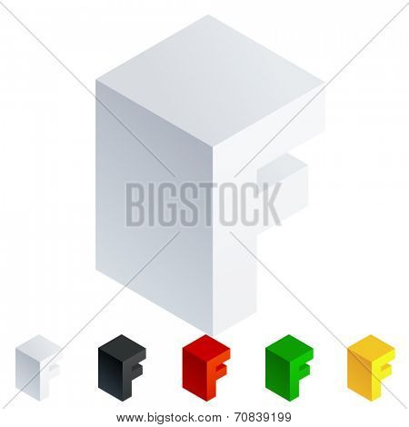 Vector illustration of solid 3D letter in isometric view. Alphabet characters. Letter f