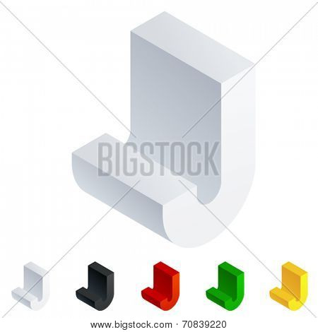 Vector illustration of solid 3D letter in isometric view. Alphabet characters. Letter j