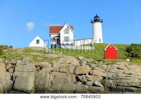 Cape Neddick Lighthouse, Old York Village, Maine, USA