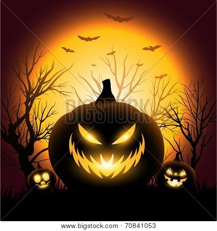 Creepy Halloween angry pumkin face copyspace background