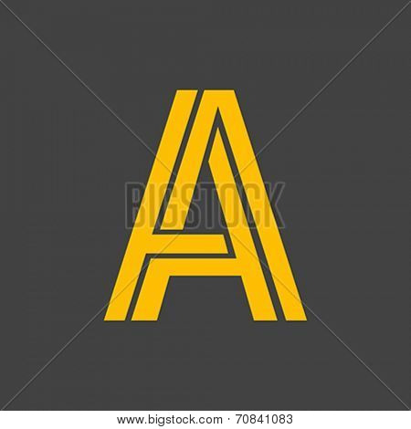 Letter A vector alphabet impossible shape. ABC concept type as logo. Typography design
