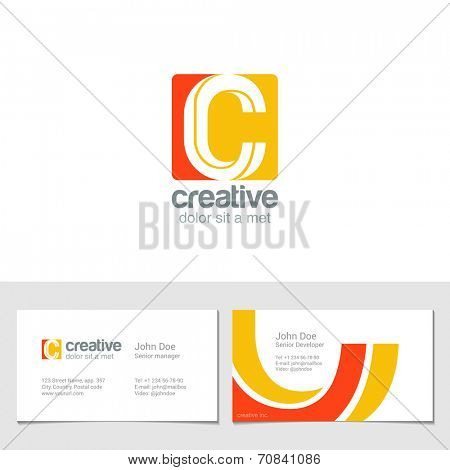 Corporate Logo ? Letter Creative company vector design template.  Logotype with identity business visit card.