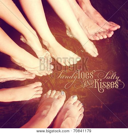Fun Istagram Image Of Family Feet In Water Splashing With Quote