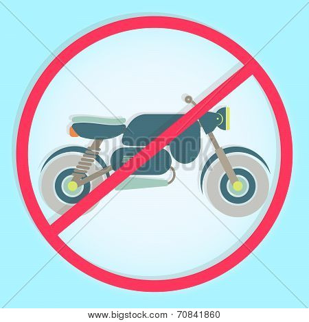 Colorful Symbol Prohibiting Motorcycle