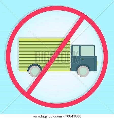 Colorful Symbol Prohibiting Trucks