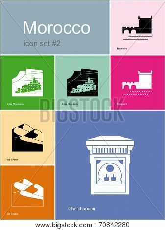 Landmarks of Morocco. Set of color icons in Metro style. Raster illustration.