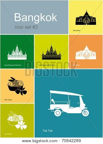 Landmarks of Bangkok. Set of color icons in Metro style. Raster illustration.