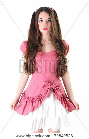 cute young woman dressed as a doll