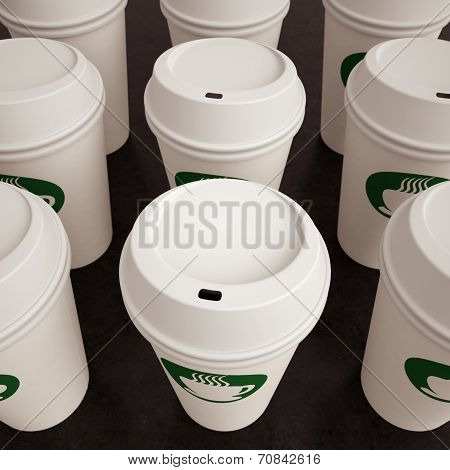 Paper Coffee Cups In Rows