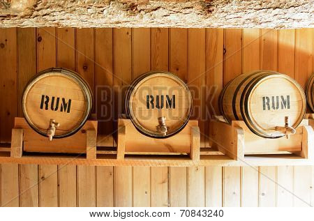 Wooden barrels to store rum