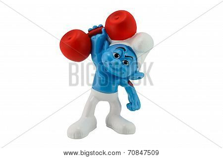 Smurf Weightlifting Character
