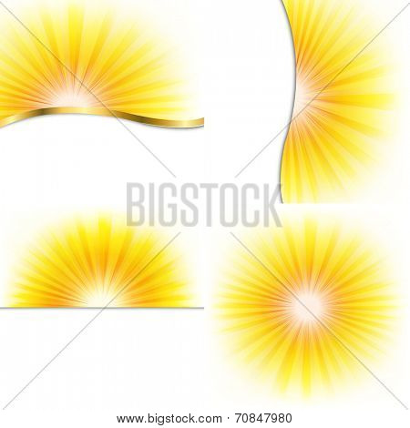4 Summer Beams Posters, With Gradient Mesh, Vector Illustration