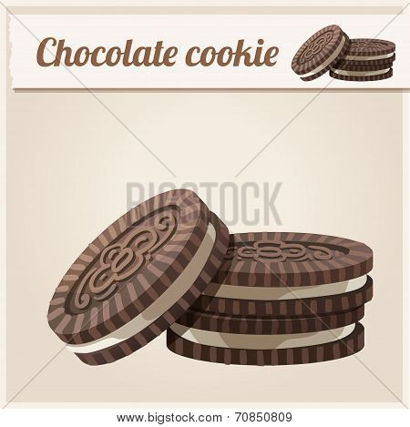 Chocolate cookie. Detailed Vector Icon.