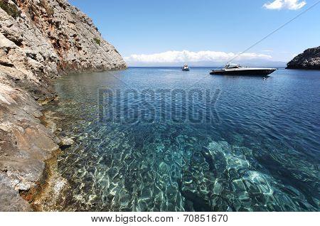 Sostis Bay. Cretan Beach. Mediterranean Landscape. Greece