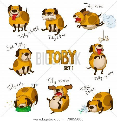 Cute cartoon dog Toby. Set 1