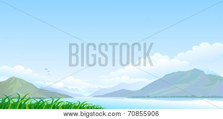 Lake , hills and vast blue sky
