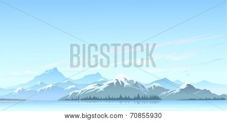Great Himalayan snow peaks and cold water lake