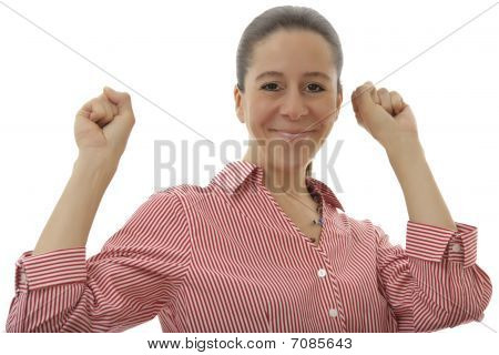 Business Woman With Both Arms In The Air